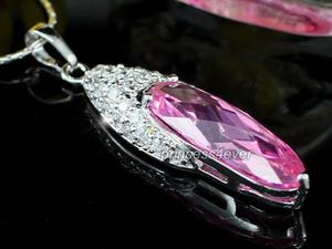 Sparkling Simulated Pink Sapphire Pendant & Necklace XN299