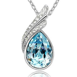 5 Carat Pear Cut Aqua Blue Necklace use Austrian Crystal XN335