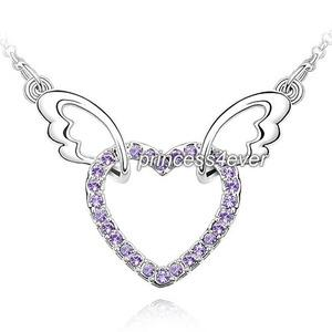 Angel Wing Heart Purple Necklace use Austrian Crystal XN361