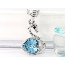 Load image into Gallery viewer, 3 Carat Aqua Blue Heart Swan Necklace use Austrian Crystal XN364