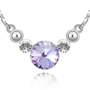 7 Carat Purple Stone Necklace use Austrian Crystal XN369