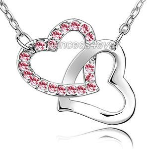 Double Pink Heart Necklace use Austrian Crystal XN378
