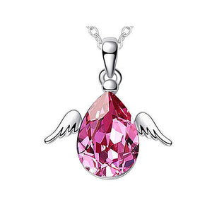 4 Carat Pink Angel Wing Necklace use Austrian Crystal XN404