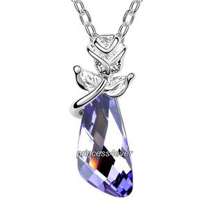 Purple Crystal Flower Pandent Necklace use Swarovski Crystal XN415
