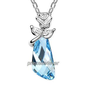 Blue Crystal Flower Pandent Necklace use Austrian Crystal XN416