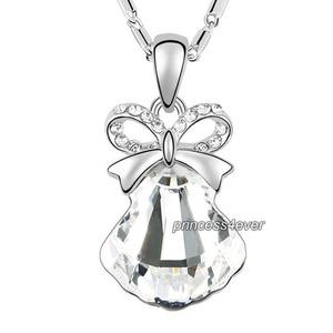 Silver Ribbon Shell Pendant Necklace use Swarovski Crystal XN421