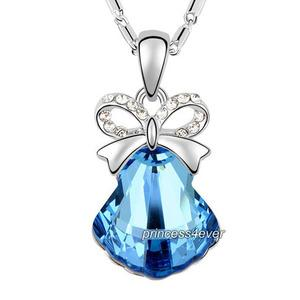 Blue Ribbon Shell Pendant Necklace use Austrian Crystal XN422