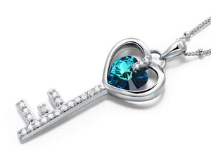3 Carat Blue Heart Love Key Pendant Necklace use Austrian Crystal XN443