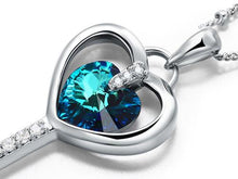 Load image into Gallery viewer, 3 Carat Blue Heart Love Key Pendant Necklace use Austrian Crystal XN443