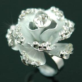 Unique! 3D Rose Flower Ring use Swarovski Crystal XR044