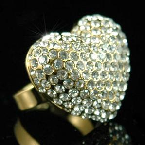 Sparkling 3D Heart Gold Ring use Swarovski Crystal XR047