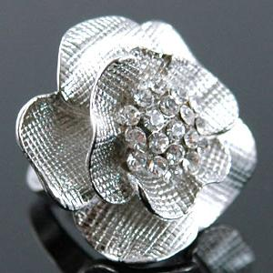 3D Rose Flower Bling Ring use Austrian Crystal XR057