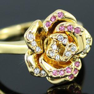 Gold Plated Rose Ring use Swarovski Crystal XR098