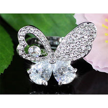 Load image into Gallery viewer, 3 Carat Butterfly Ring use Austrian Crystal Free Size XR100