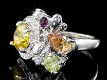 Load image into Gallery viewer, 3 Carat Multi-Colour Flower Created Topaz Ring XR105