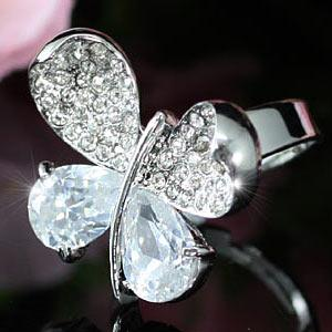 4 Carat Butterfly Ring use Austrian Crystal Free Size XR107