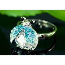Load image into Gallery viewer, 2 Carat Blue Ladybug Ring use Austrian Crystal Free Size XR116