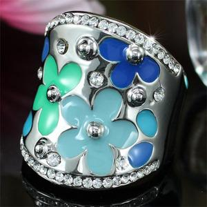 Blue Flower Ring use Austrian Crystal XR145