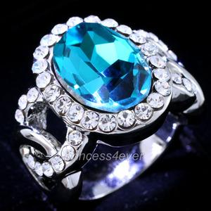 Aqua Blue 5 Carat Ring use Austrian Crystal XR158