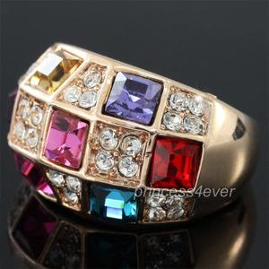 Multi-Colour Rose Gold Plated Ring use Swarovski Crystal XR173