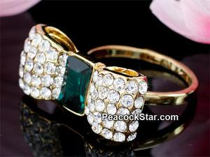 Bow Gold Plated Green Ring use Austrian Crystal XR184