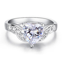 Load image into Gallery viewer, 2 Carat Sparkling Heart CZ Created Diamond Ring XR194