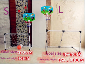2018 new 2 in 1 combing  children's basketball rack or football  goal Indoor shooting box football games for kids