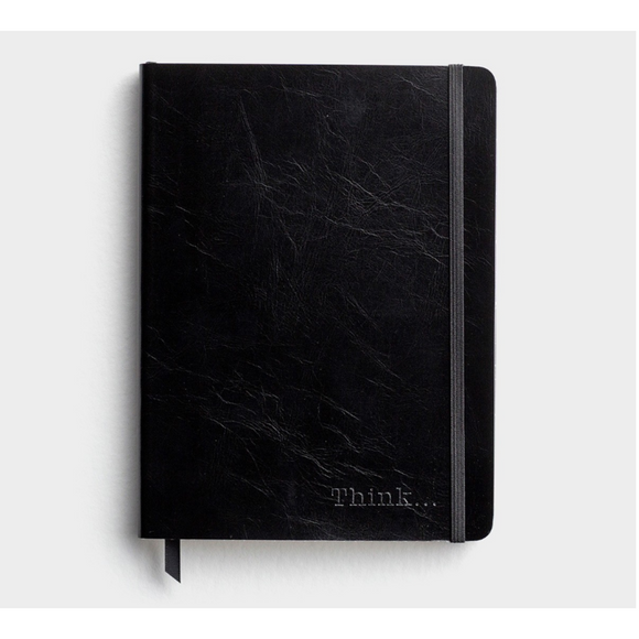 Journal-Black Leather-Just Think-#93197