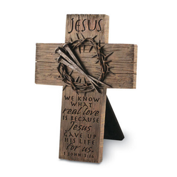 Cross-Small Desktop-Crown & Nails/Jesus-#11980