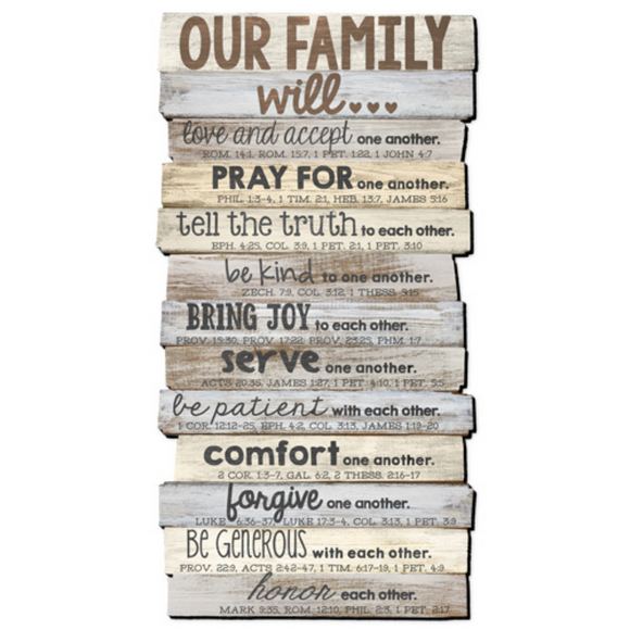 Plaque-Stacked Wood -Large-Our Family Will #45017