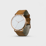 Proverbs 3:5 Watch - Rose Gold White Face/Brown Leather Strap