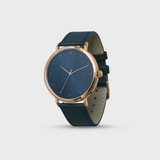 Proverbs 3:5 Watch - Rose Gold Dark Blue Face & Leather Strap