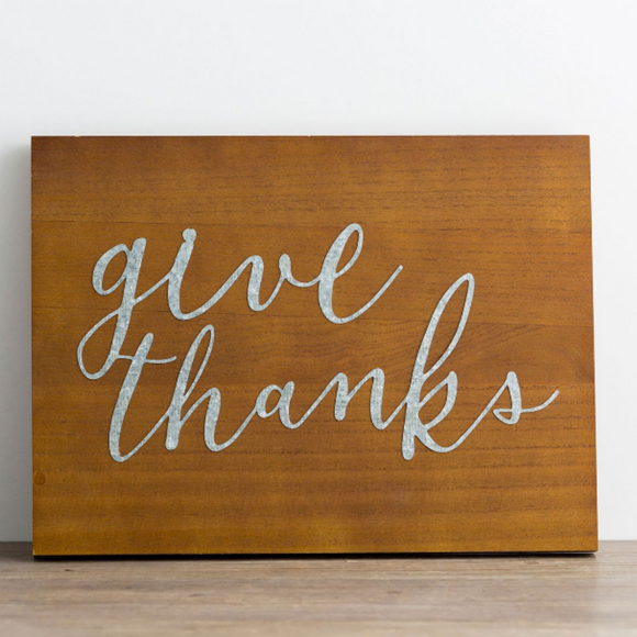 Give Thanks - Wood & Metal Wall Art