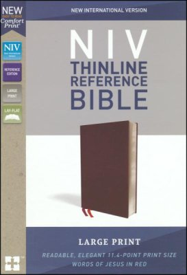 NIV Comfort Print Thinline Ref/Large Print-Bonded Leather