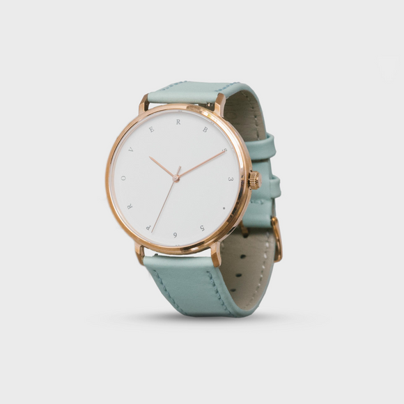 Proverbs 3:5 Watch - Rose Gold Dark Blue Face/Mint Leather Strap