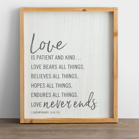 Love Is Patient - Framed Wooden Wall Art-#J0389