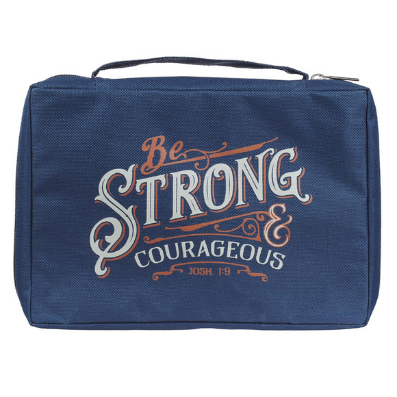 Bible Cover - Be Strong & Courageous (Navy)