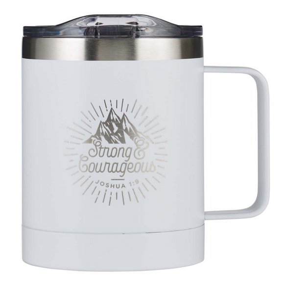 Stainless Steel Mug - Strong & Courageous (SMUG196)