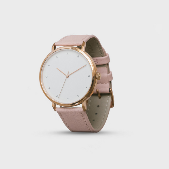 Proverbs 3:5 Watch - Rose Gold White Face/Pink Leather Strap