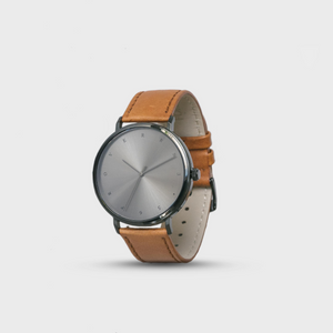 Proverbs 3:5 Watch - Gunmetal & Brown Leather Strap