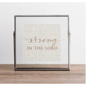Glass & Metal Plaque-Strong in the Lord/81623