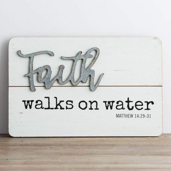 Wood & Metal Wall Art-Faith Walks on Water-#91363