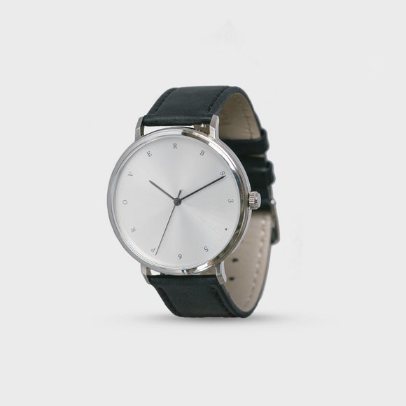 Proverbs 3:5 Watch - Silver Face/Black Leather Strap