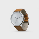 Proverbs 3:5 Watch - Silver Face/Brown Leather Strap