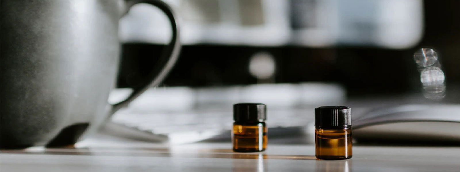 2 Bottles of essential oil on the table