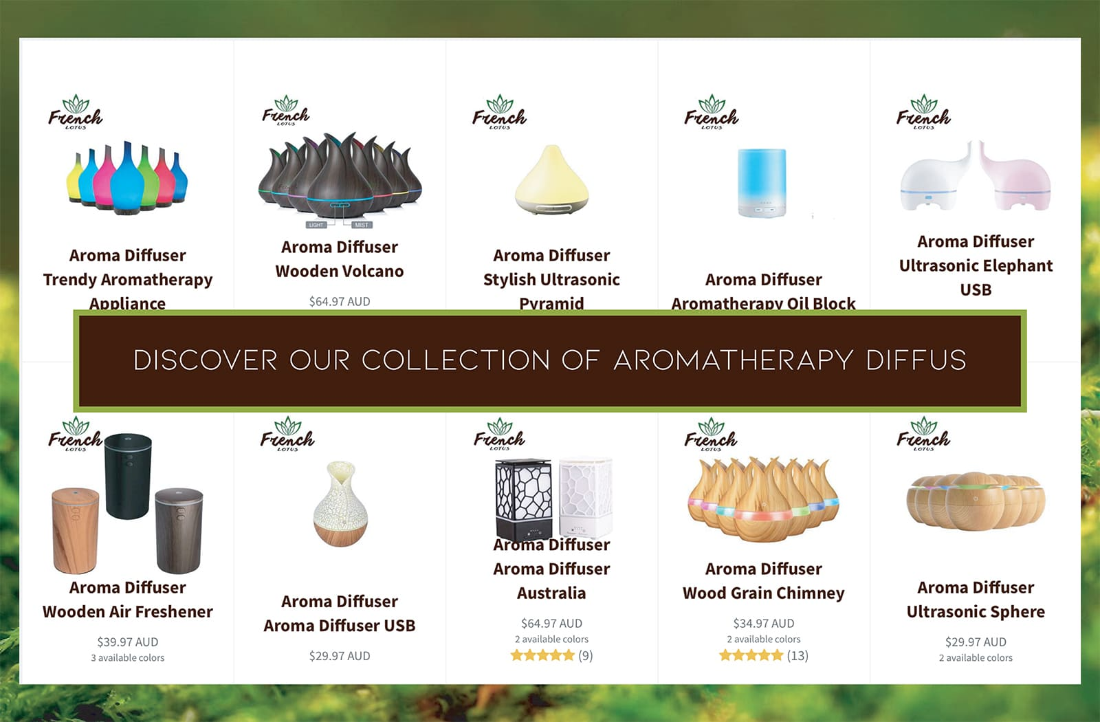 Selection of Aromatherapy oil diffusers