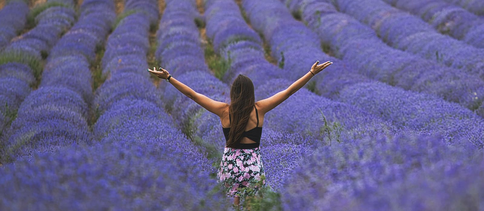 happy woman in a lavender field