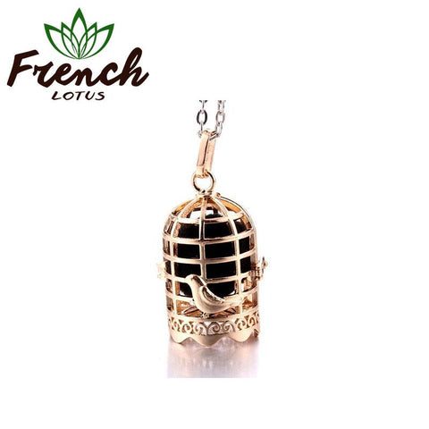 Golden Bird Cage Necklace | French Lotus