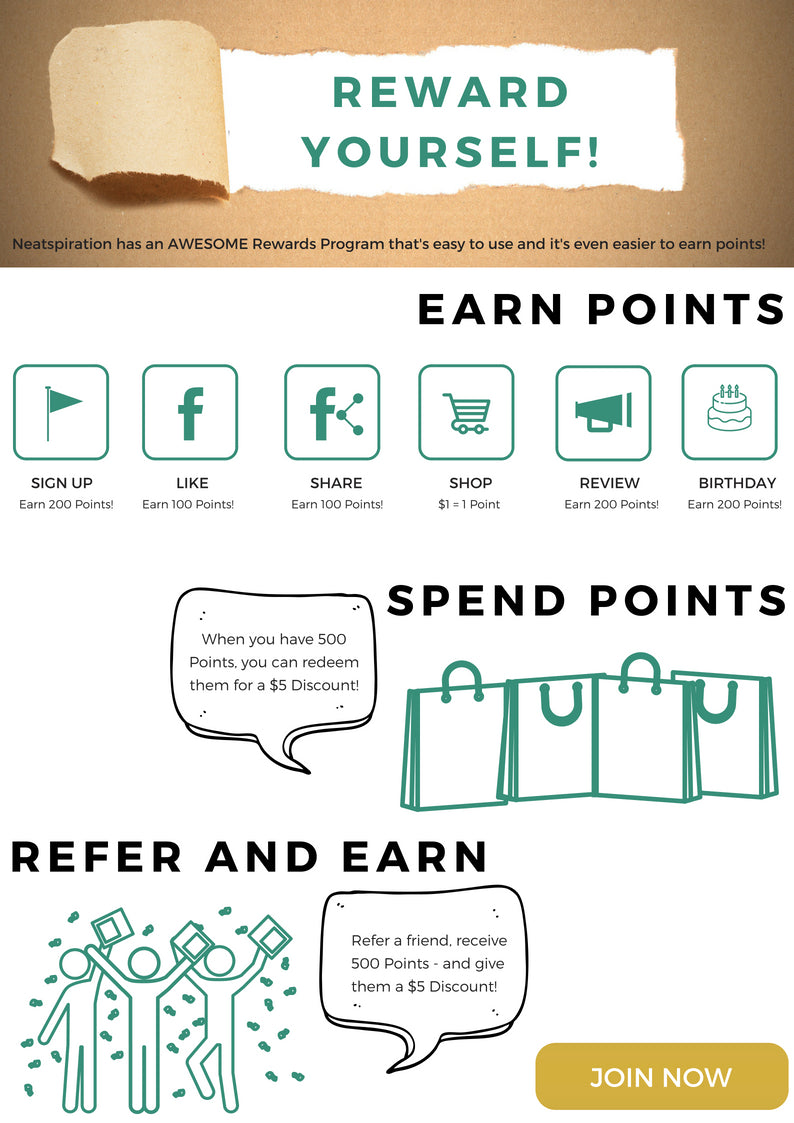 Neatspiration has an AWESOME Rewards Program that's easy to use and it's even easier to earn points!