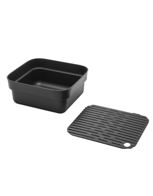 Brabantia Washing Up Bowl with Drying Tray Dark Grey